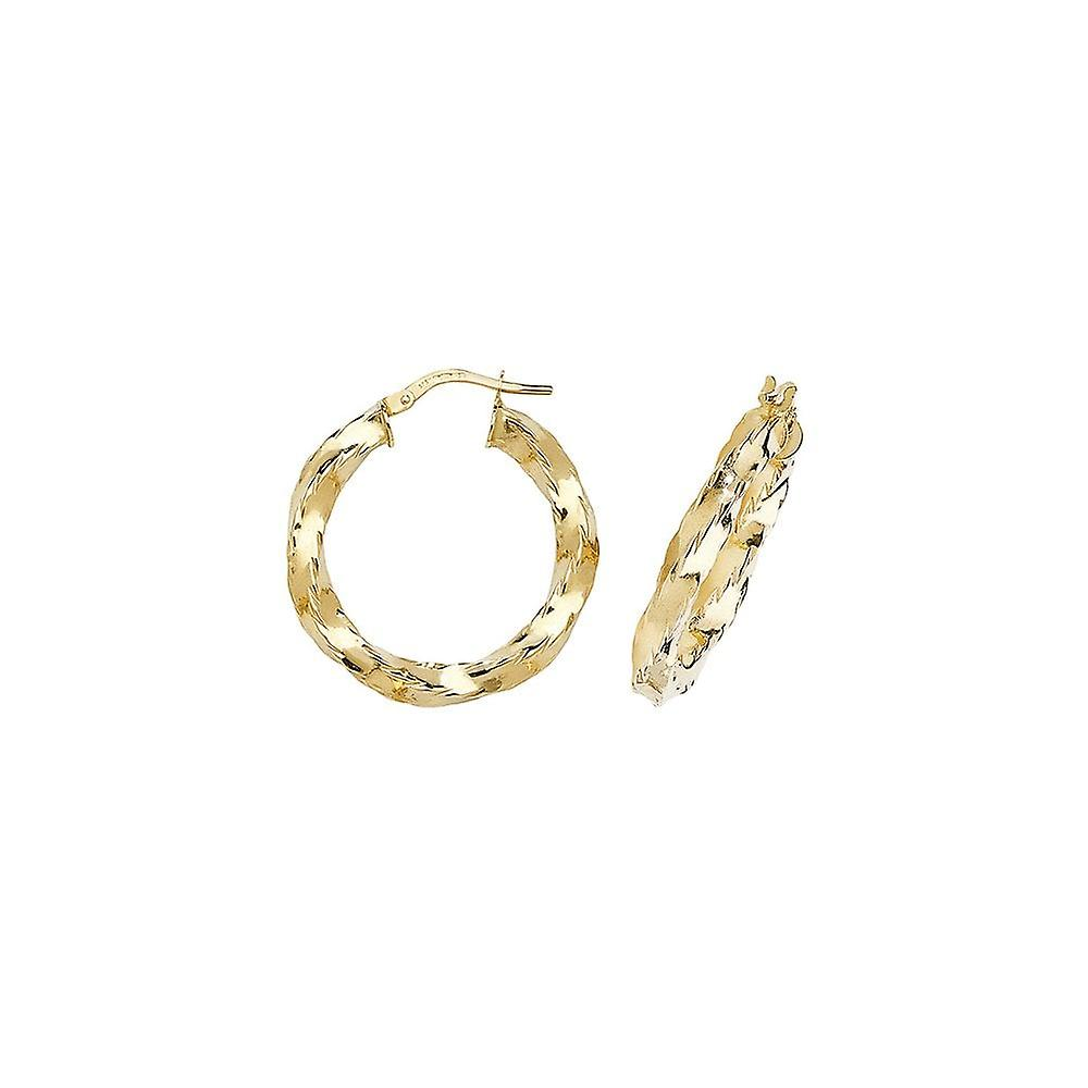 Eternity 9ct Gold Round 27mm Chunky Creole Hoop Earrings