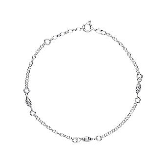 Jewelco London Ladies Rhodium Plaqué Sterling Silver Rain Drop Oval Bead Charm Anklet 9 - 1 pouce