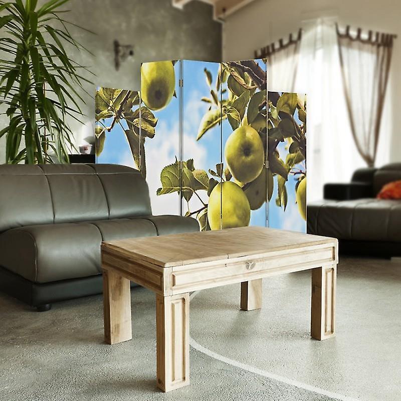 Diviseur de pièce décoratif, 5 panneaux, double-sided, toile, pommes vertes de branche 2