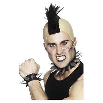Punk Choker en armband, zilveren, zachte PVC Rubber Fancy Dress accessoire