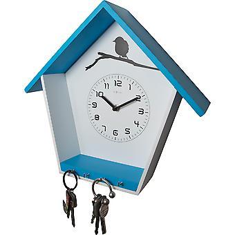 NeXtime - Wall clock - Ø 33 cm - Wood – multi-functional - Blue – 'Cuckey'
