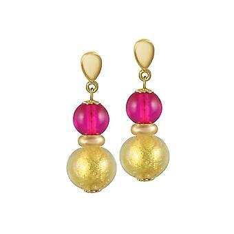 Eternal Collection Veneto Fuchsia Pink Murano Glass Gold Tone Drop Pierced Earrings