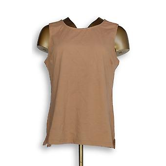 Joan Rivers Classics Collection Women's Top Cotton Beige A295141