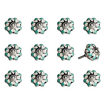 """1.5"""" x 1.5"""" x 1.5"""" White Green and Black  Knobs 12 Pack"""