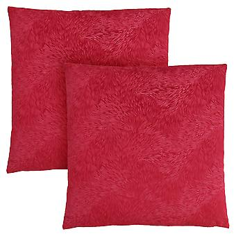 """18"""" x 18"""" Red, Feathered Velvet - Pillow 2pcs"""