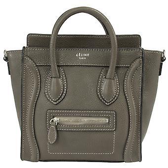 Celine Nano Luggage Grey Leather Bag | gray w/ Silver Hardware