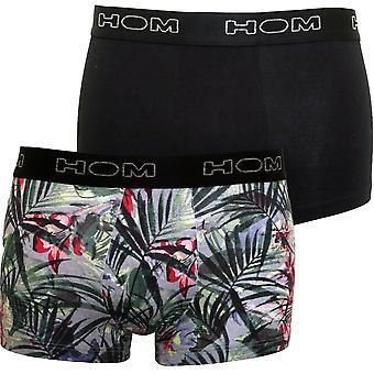 HOM 2-Pack Tropic Garden Print Boxer Trunks, Black/grey