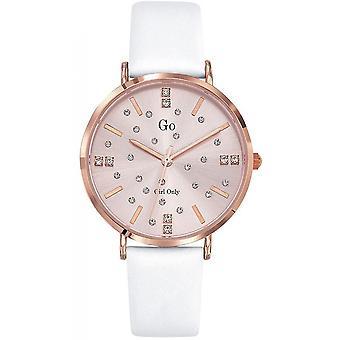 Reloj Go Chica Sólo 699935 - Caja de acero Dor rosa pulsera de cuero blanco cuero mujeres