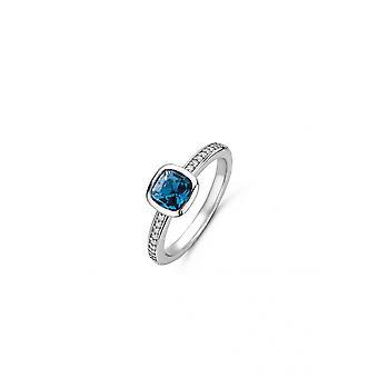 Ring ti Sento 12176DB-sølv gennemskinnelig synth sten blå mørke sæt lukket kvinde