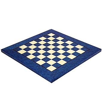 16.5 Inch Blue Erable and Elm Wood Luxury Chess Board