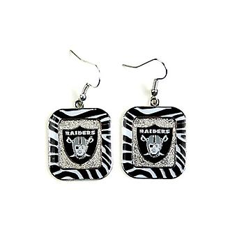 Oakland Raiders NFL Zebra Style Dangle Earrings