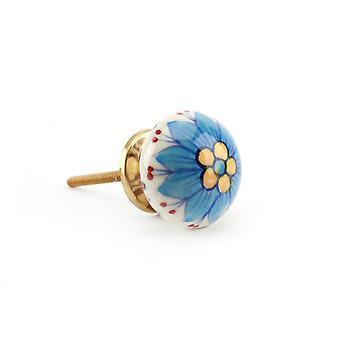 CGB gaveartikler krem og blå blomster skuff håndtak