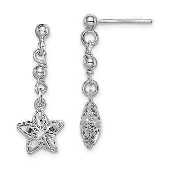 925 Sterling Silver Rhodium plated Sparkle Cut Mesh Star Dangle Post Earrings Jewelry Gifts for Women