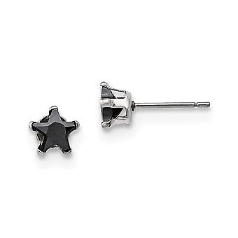 Acier inoxydable poli 6mm Black Star CZ Cubic Zirconia Simulated Diamond Stud Post Boucles d'oreilles Bijoux Bijoux pour les femmes