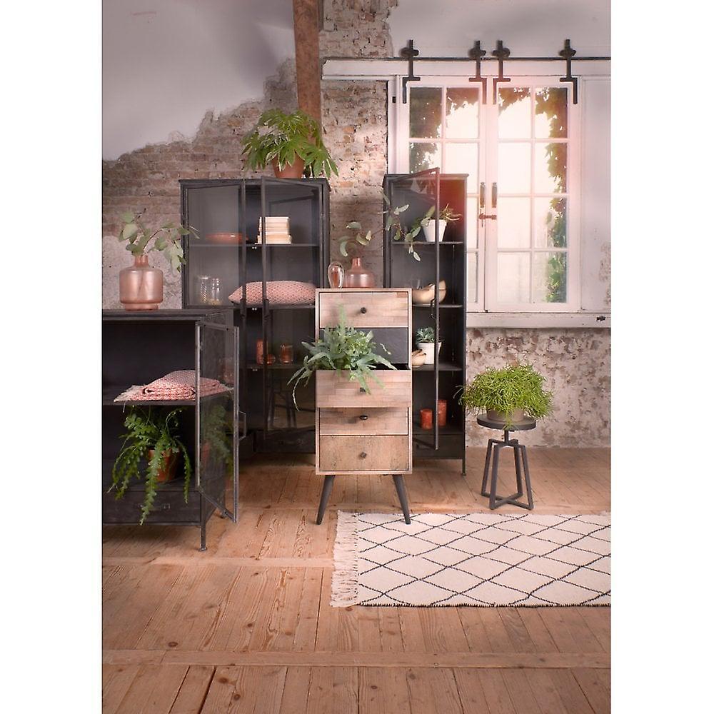 Light & Living Cabinet With Glass Door 90x38x103cm Locumba Antique Black