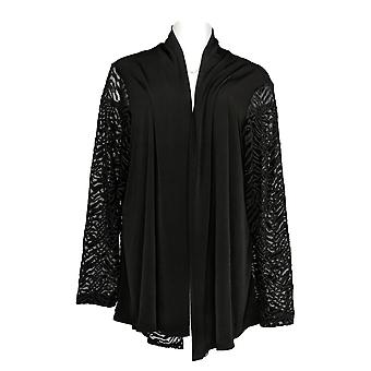 Susan Graver Women's Plus Top Liquid Knit & Lace Cardigan Nero A344841