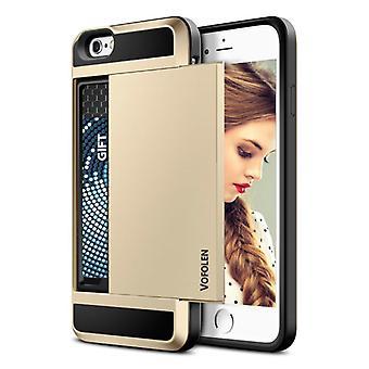 VOFOLEN iPhone 6 Plus - ウォレットカードスロットカバーケースケースビジネスゴールド