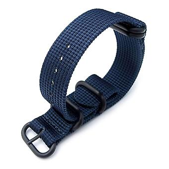 Strapcode n.a.t.o watch strap miltat 20mm or 22mm 5 rings g10 zulu water repellent 3d nylon, navy blue, pvd black