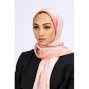 Premium crepe scarf i lax & ljusblå Print