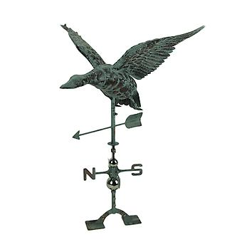 Verdigris Patina Metal Flying Duck Weathervane with Roof Mount