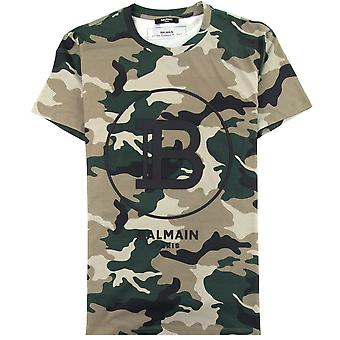 Balmain Logo Cotton T-shirt Camo