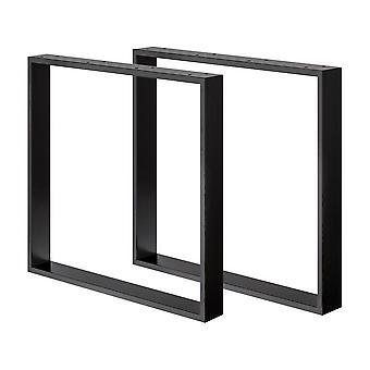 Sæt med sorte U bordben 72 cm (ærme 8 x 2) (1 stk.)