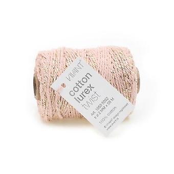 Vivant Cord Cotton Lurex Twist pink / gold - 50 MT 2MM
