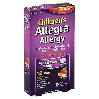 Allegra children's 12 hour allergy, 30 mg, tablets, orange cream, 12 ea
