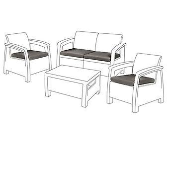 Gris 4pc cojín asiento set para Keter Allibert Corfu sofa set