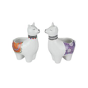 Set of 2 Adorable Hand Painted Llama Dolomite Ceramic Mini Planters