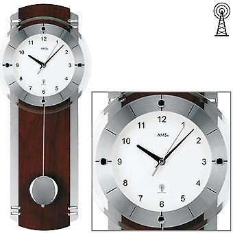 AMS 5245/1 Wall clock radio radio wall clock with pendulum wood walnut colors pendulum clock
