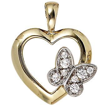 Naiset Riipus Sydän Perhonen 333 Kulta Keltainen Kulta 8 Zirconia Sydän Riipus Kulta Sydän
