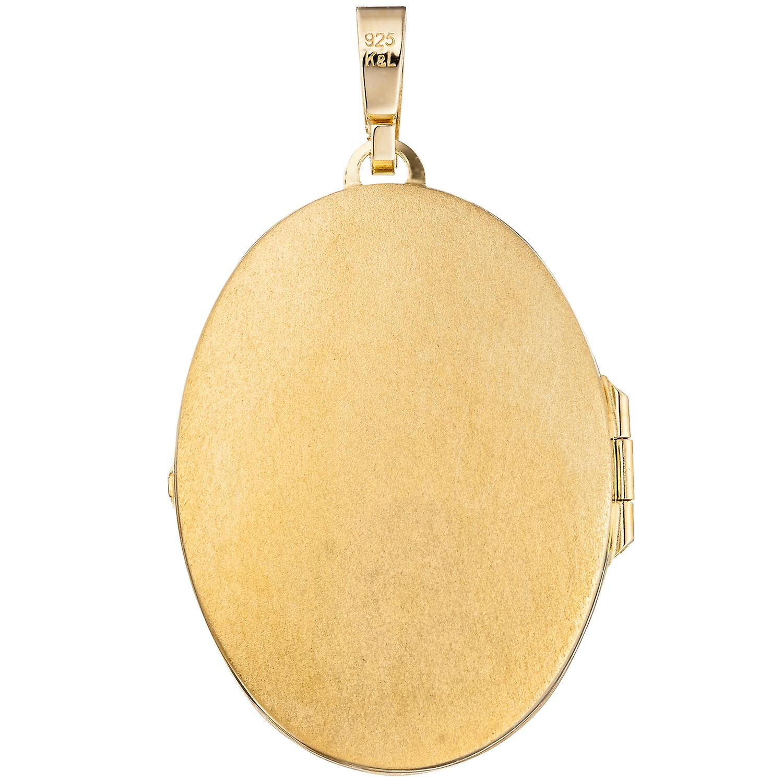 Damen Medaillon oval für 2 Fotos 925 Silber gold vergoldet Anhänger zum Öffnen