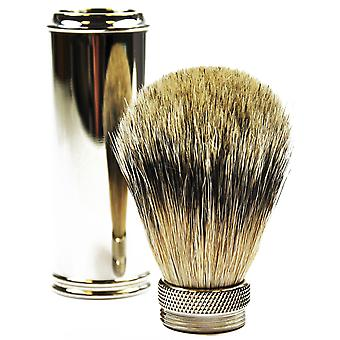 Gold dachs travel shaving brush with badger plucked hair metal handle chromed