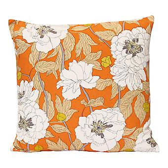 Vintage Orange Floral Cotton Square Indoor / Outdoor Pillow