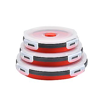 3pcs Round sealed lunch box Round multifunctional box Silicone folding fresh-keeping box