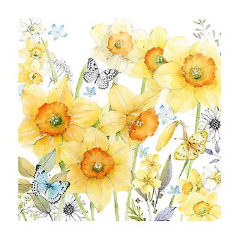 Ambiente 3 Ply Paper Lunch Napkins, Classic Daffodils