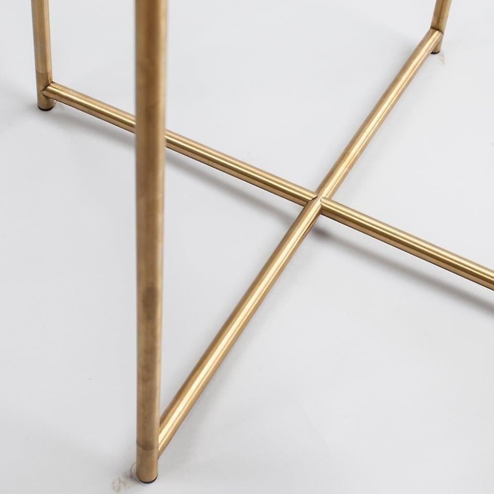 Gillmore Black Marble Square Side Table With Brass Cross Base