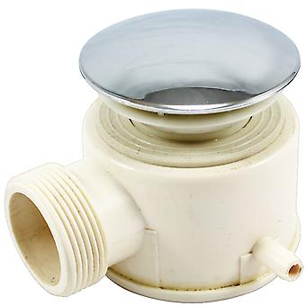 Steam Shower Waste Drain Trap with Chrome Cover with Steam Pipe Spigot - 50mm