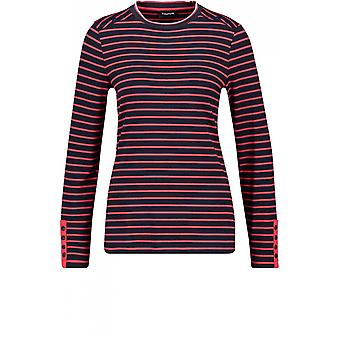 Taifun Navy & Red Striped Jersey Top