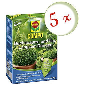 Sparset: 5 x COMPO boxwood and Ilex long-term fertilizer, 2 kg