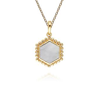 Mother of Pearl Flat Slice Hex Pendant Necklace in Gold Plated Sterling Silver 271P017504925