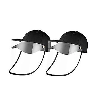 2X Utomhus Hatt Anti Dimma Damm Saliv Cap Face Shield Cover Kids Svart