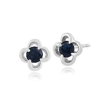 Floral Round Sapphire & Diamond Halo Stud Earrings in 9ct White Gold 162E0114019
