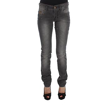 Galliano Gray Wash Cotton Blend Slim Fit Stretch Jeans