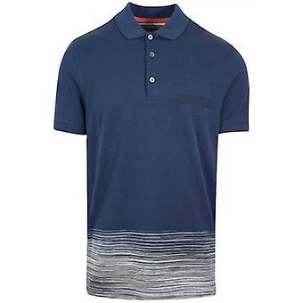 MISSONI Navy Half Stripe Polo Shirt