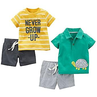 Simple Joys by Carter's Baby Boys' 4-Piece Playwear Set, Yellow Stripe/Green ...