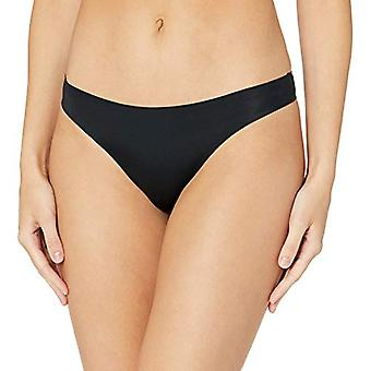 Essentials Women's Standard 4-Pack Seamless Bonded Stretch Thong Panty, Black, S
