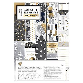 Papermania Kapsel Elementer Metallic A4 Ultimate Die-Cut & Papirpakke (48pk) (PMA 160257)