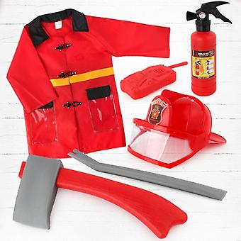 4pcs/set Children Firefighter Fireman Cosplay Toys- Kit Fire Extinguisher Intercom Axe Wrench Gifts For Kids
